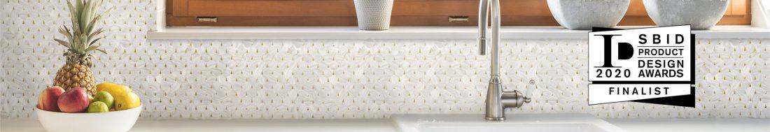 Golden pearl drop kitchen backsplash