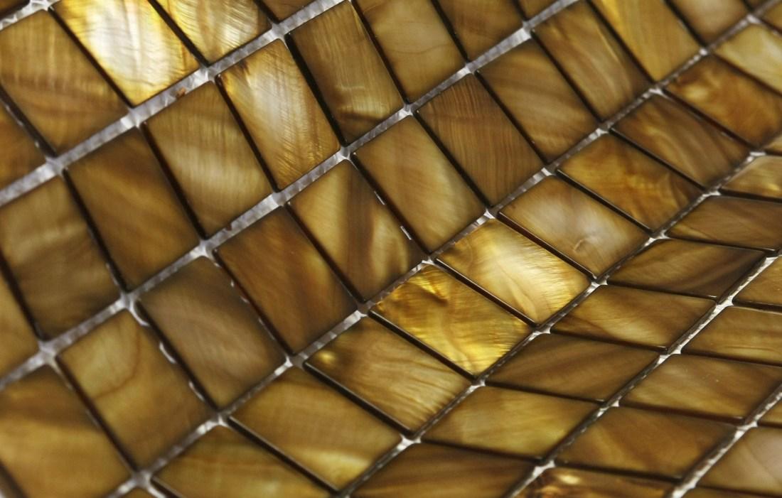 Detail shot of Siminetti's Bronze Mosaic Tiles
