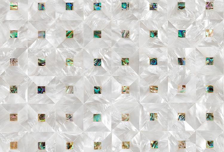 Siminetti Gemstone Mother of Pearl Mosaic Panel