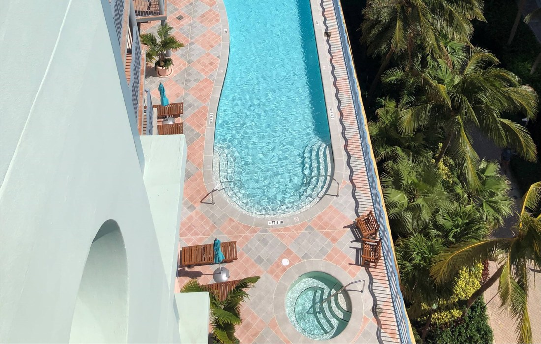 Swimming Pool in the sun from above