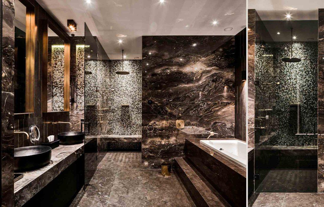 Luxury bathroom with Midnight Hexagons Bathroom