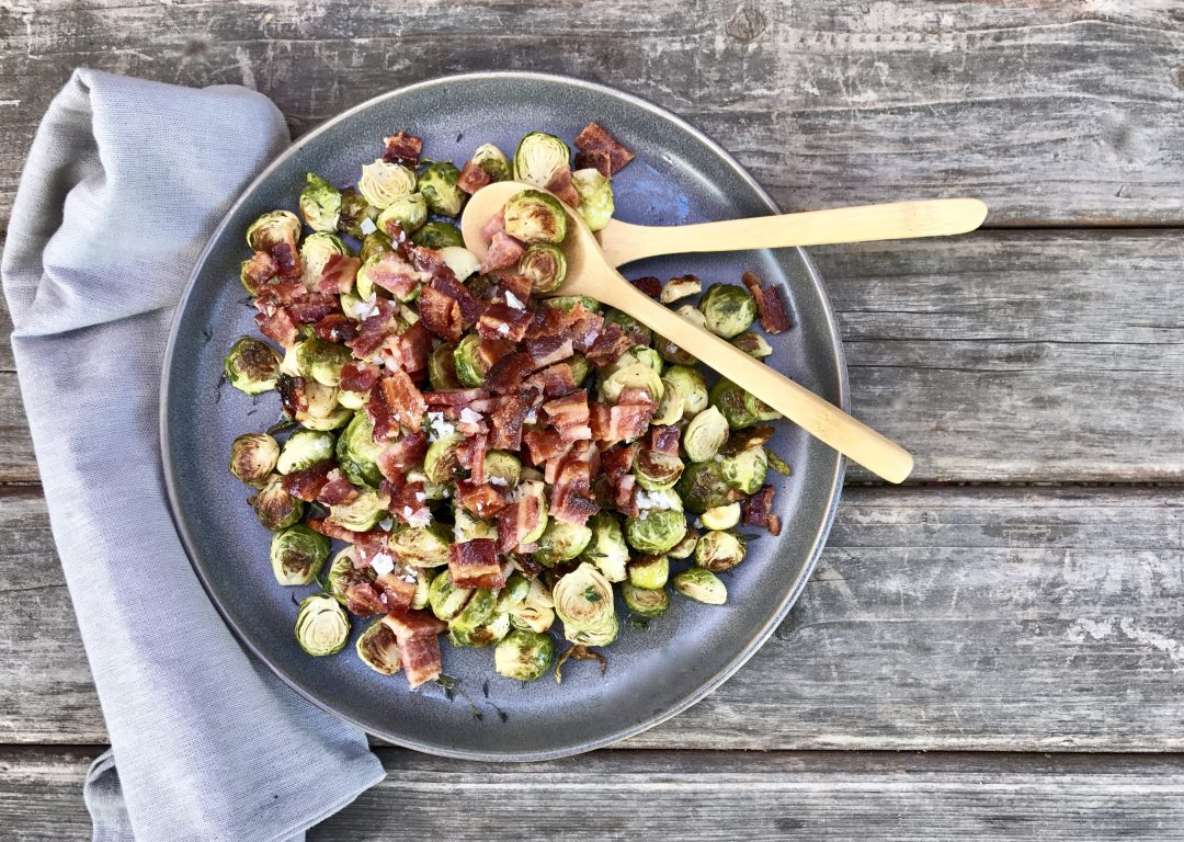 Oven Roasted Brussels Sprouts With Crispy Maple Bacon, Garlic And Thyme
