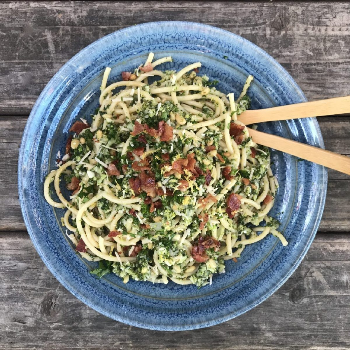 bucatini pasta with shredded broccoli