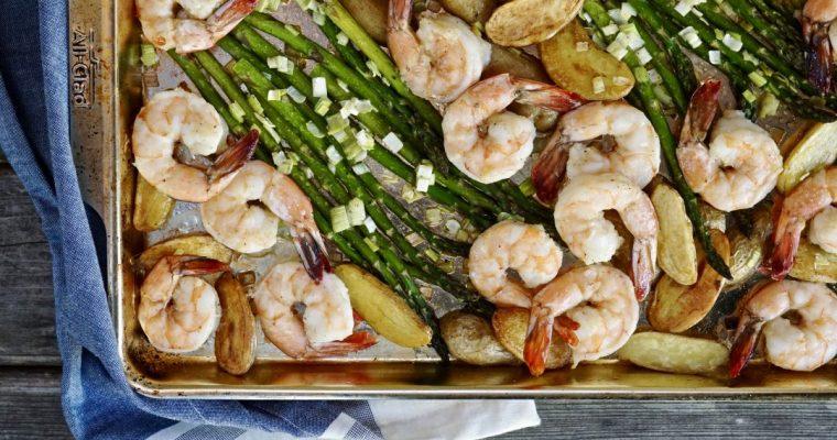 Sheet Pan Garlic Shrimp With Asparagus And Fingerling Potatoes