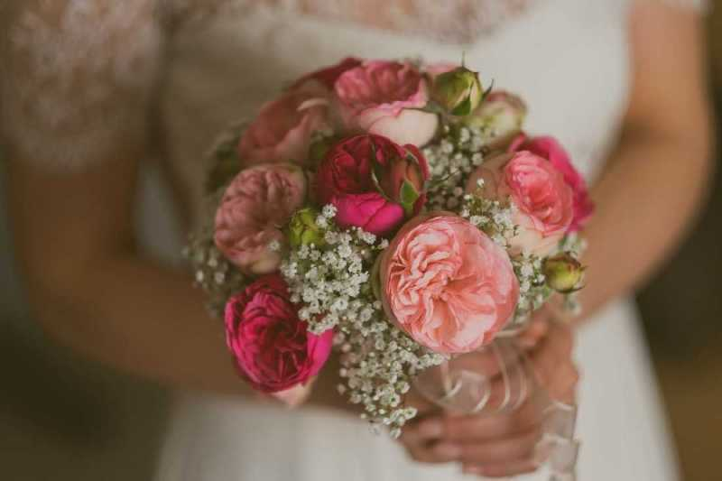 bouquet romantico rose inglese fuxia cipria simmi