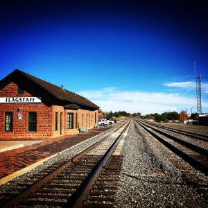 The old train station in Flagstaff, Arizona.