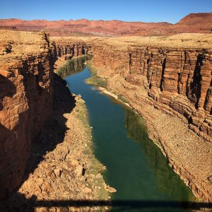 Looking north toward Lee's Ferry on the Colorado River from Navajo Bridge in northern Arizona.