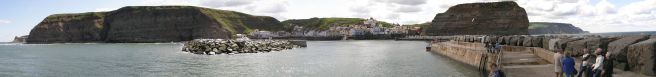 Panoramic view of Staithes, North Yorkshire