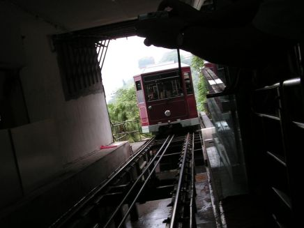 Peak Tram enters the terminal, Hong Kong.