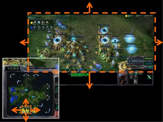 Minimap tirée d'un match de StarCraft II: Wings of Liberty (Blizzard Entertainment, 2010-2012) commenté par Crota.