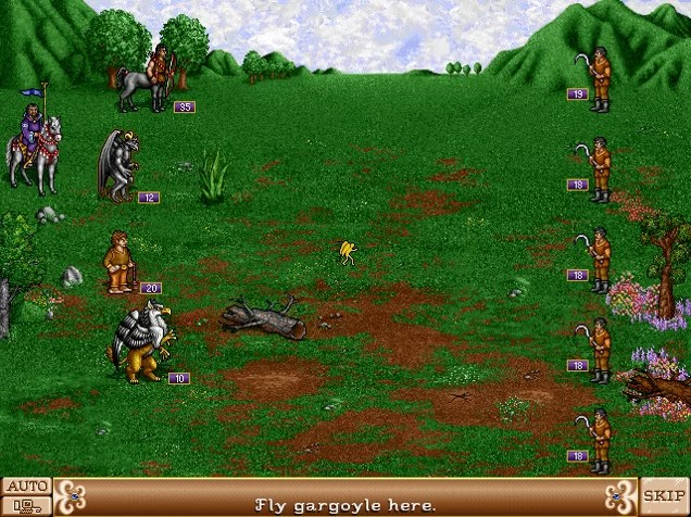 Rencontre avec des paysans dans Heroes of Might and Magic II.