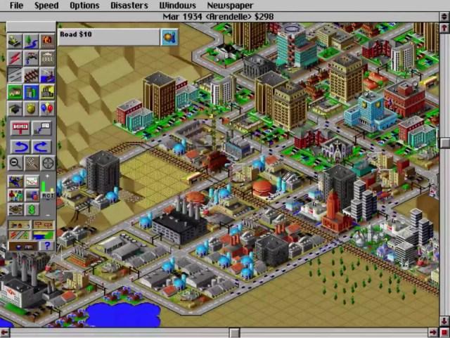 Une ville de SimCity 2000 (Maxis, 2004), un jeu vidéo où il faut gérer, entre autres, des industries...