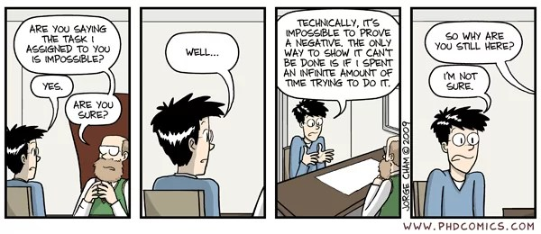 PhD Comics - 2009-03-07 - Proving a negative