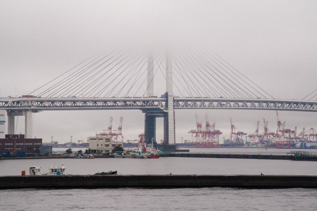 Yokohama Bay Bridge, with Honmoku Pier in the background.