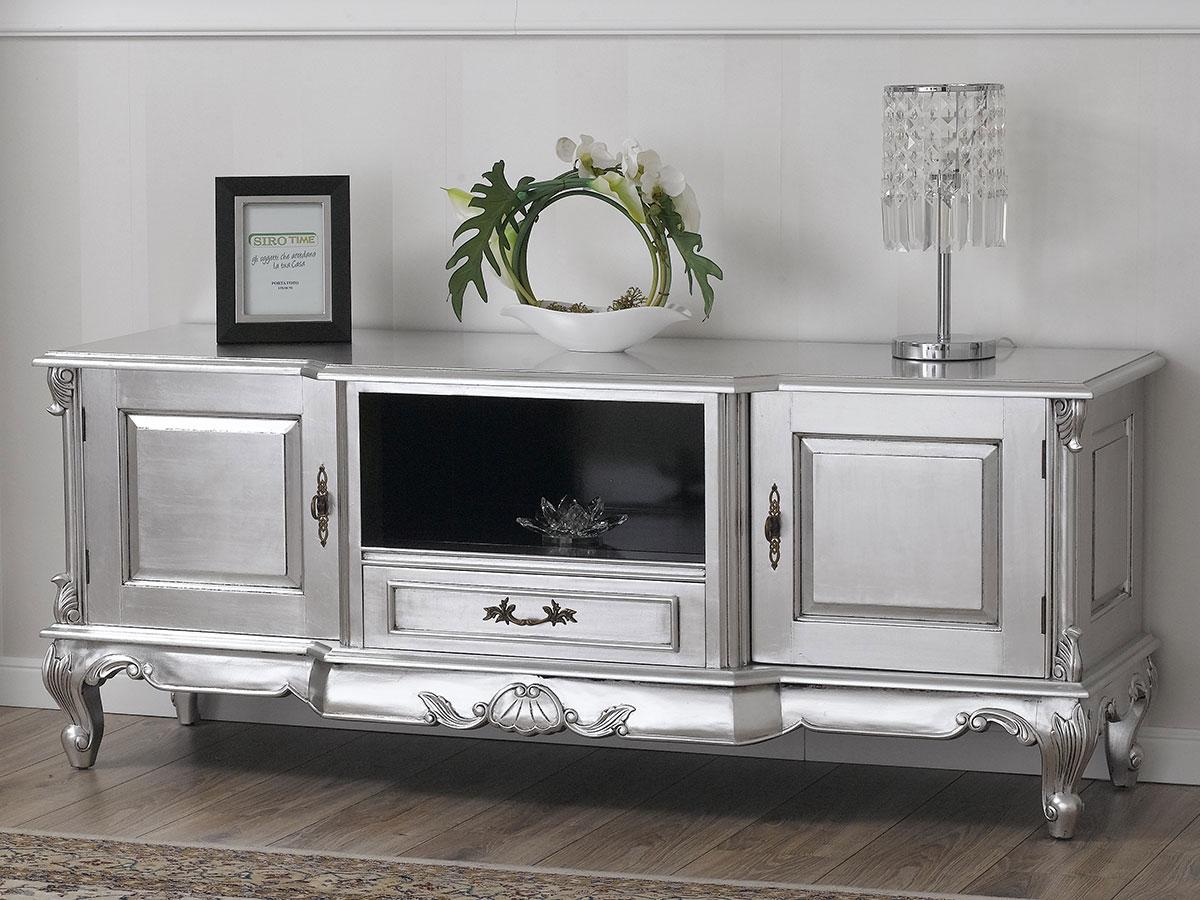 details sur meuble tv carlos style baroque moderne feuille argent