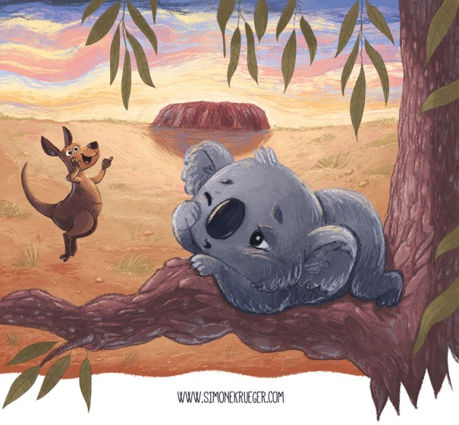 Final Artwork of Kanagroo visiting Koala very early in the morning.