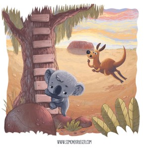 Final Artwork of Koala and Kangaroo starting their journey.