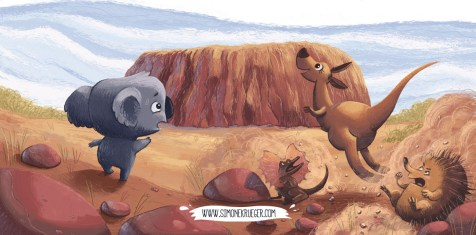 Final Artwork of Koala and Kangaroo dashing forwards and don't see this two fellas.