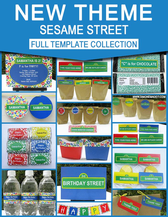 sesame street birthday party invitations printables