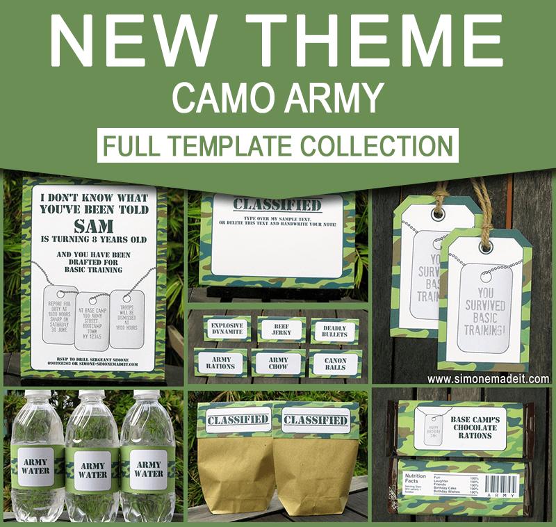 Army Birthday Party Invitations Camo Party Decorations