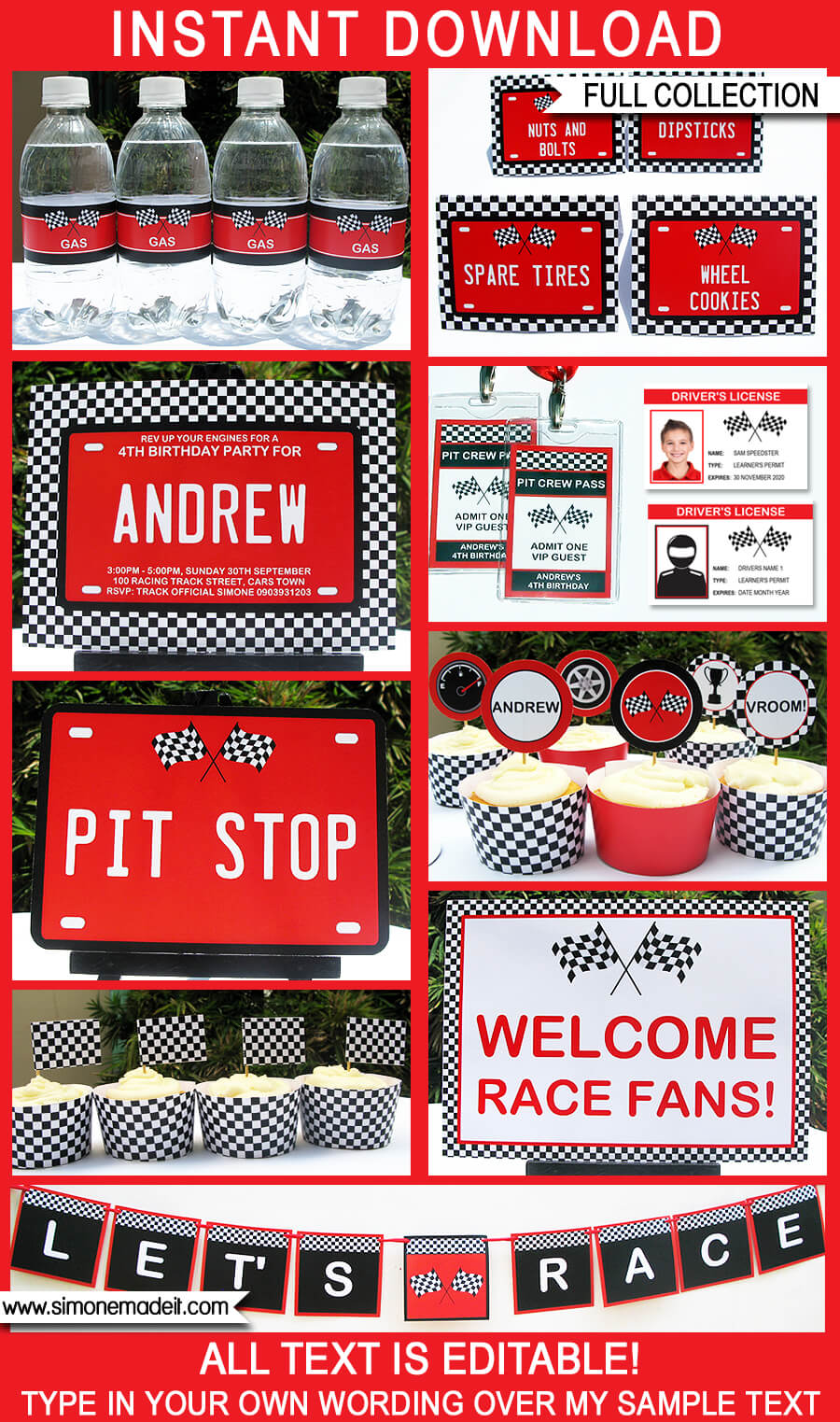 Race Car Party Printables Invitations Amp Decorations