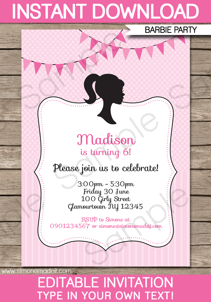 Barbie Party Invitations Template Birthday Party