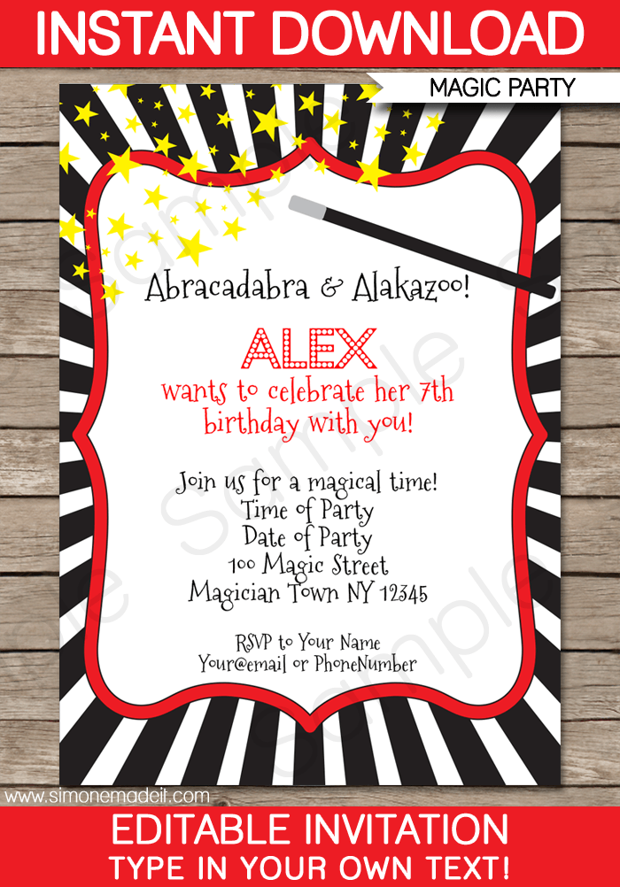 magic party invitations template red