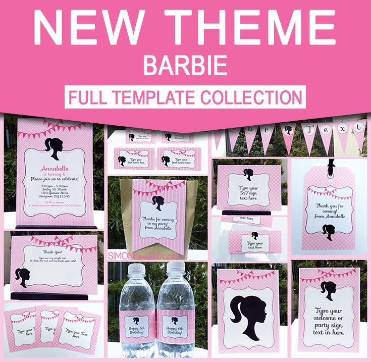 barbie party theme printables invitations decorations