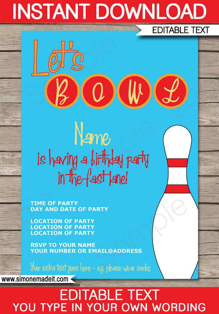 bowling party invitations template red blue