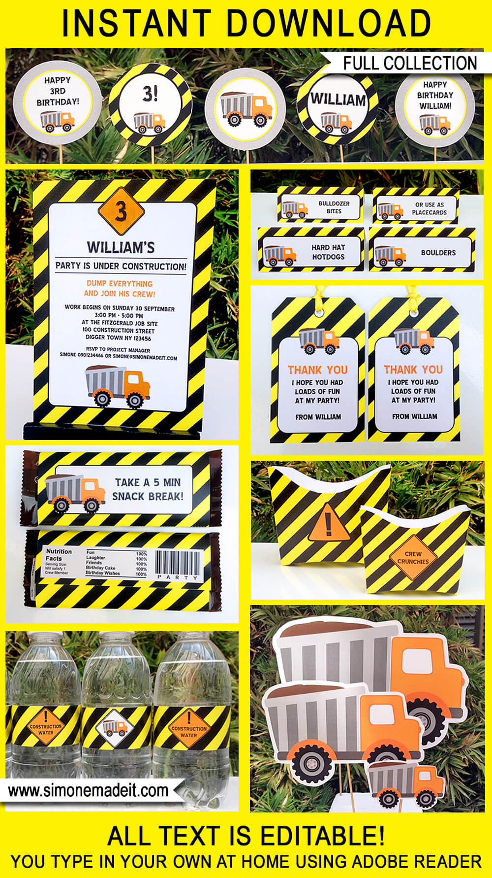 birthday invitation for boys to edit, personalize, print with excellent image resolution. Construction Party Printables Invitations Decorations