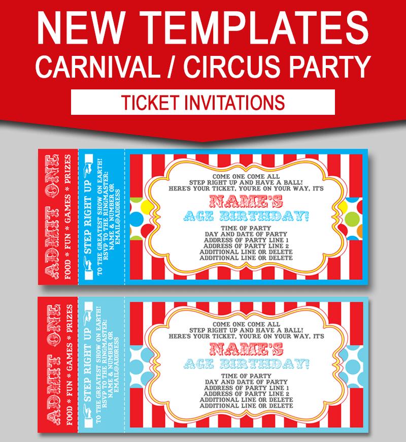 editable carnival ticket invitations