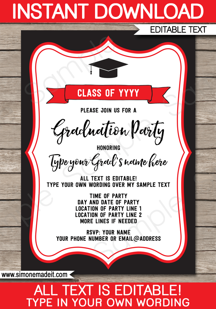 White And Party Graduation Black Invitations