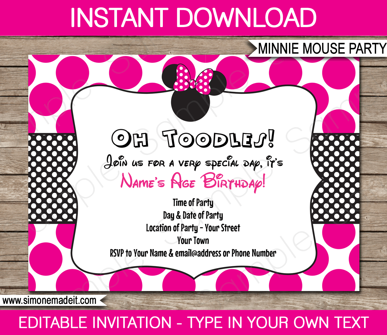 minnie mouse party invitations template pink