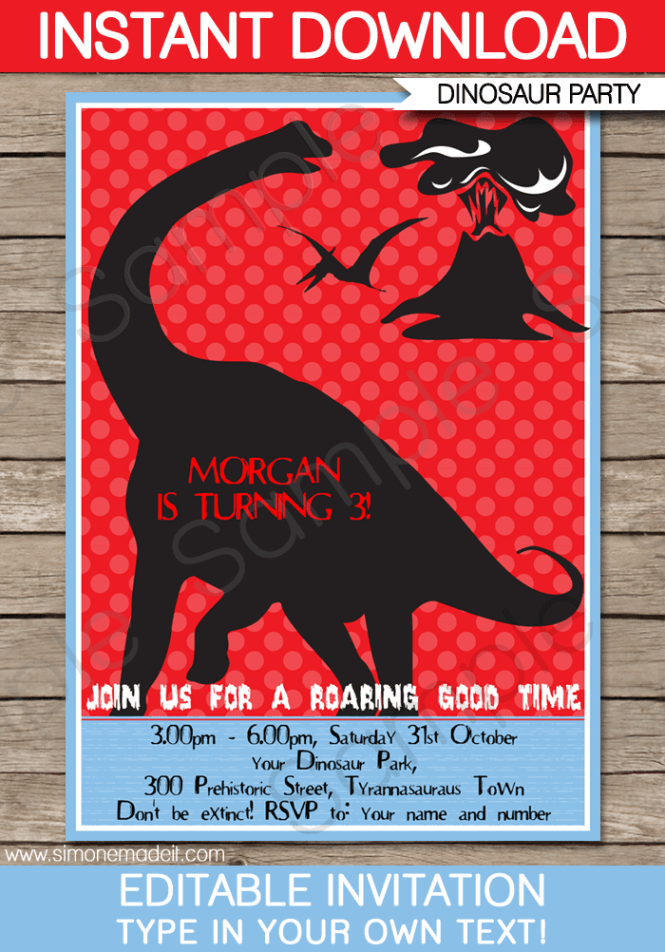 Dinosaur Party Invitations Template Red Blue Black