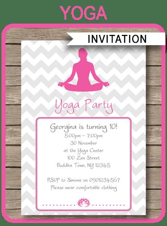 Yoga Party Invitations Template Yoga Birthday Party