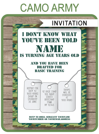 Camo Invitations Template Army Birthday Party