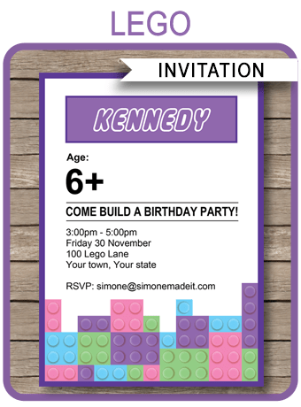 lego friends party invitations template