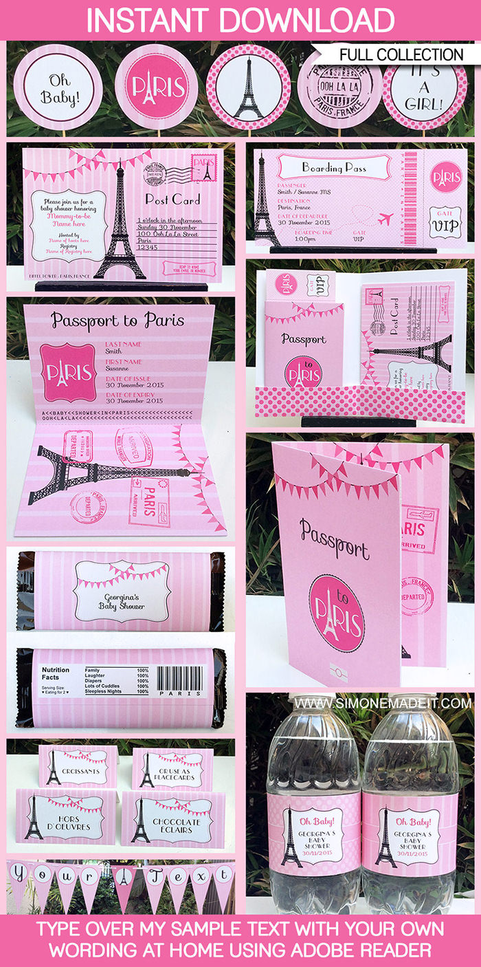 Paris Baby Shower Printables Invitations Decorations