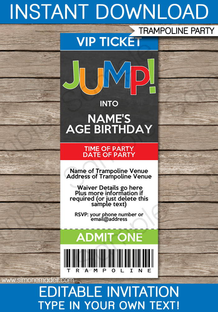 trampoline party ticket invitations template boys