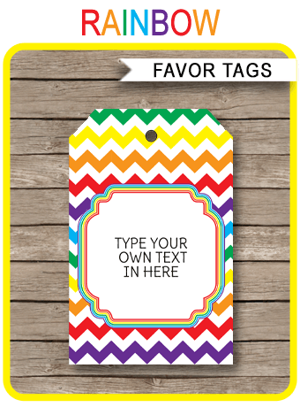 Rainbow Party Favor Tags Thank You Tags Birthday Party