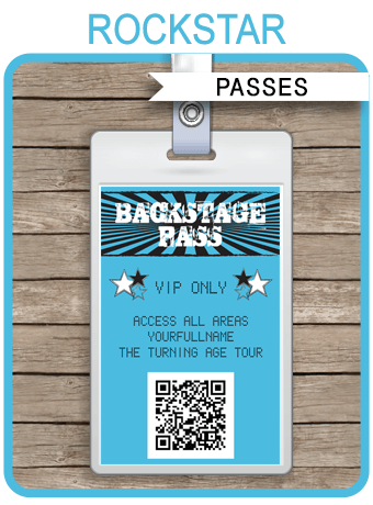 Rockstar Birthday Party Backstage Passes Template Blue