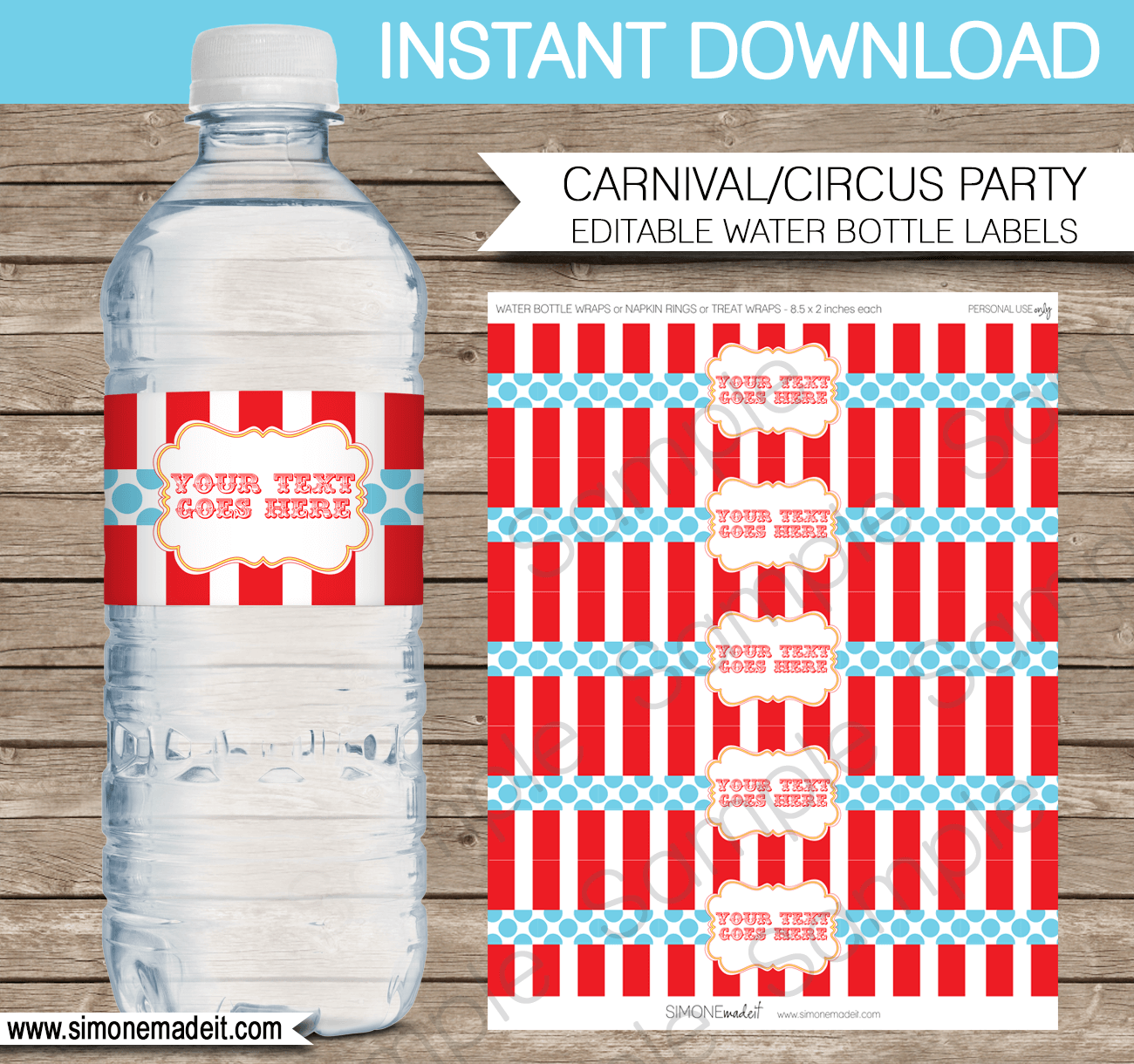 Editable Circus Water Bottle Labels