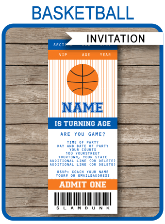 Navy Blue And Orange Basketball Party Ticket Invitation
