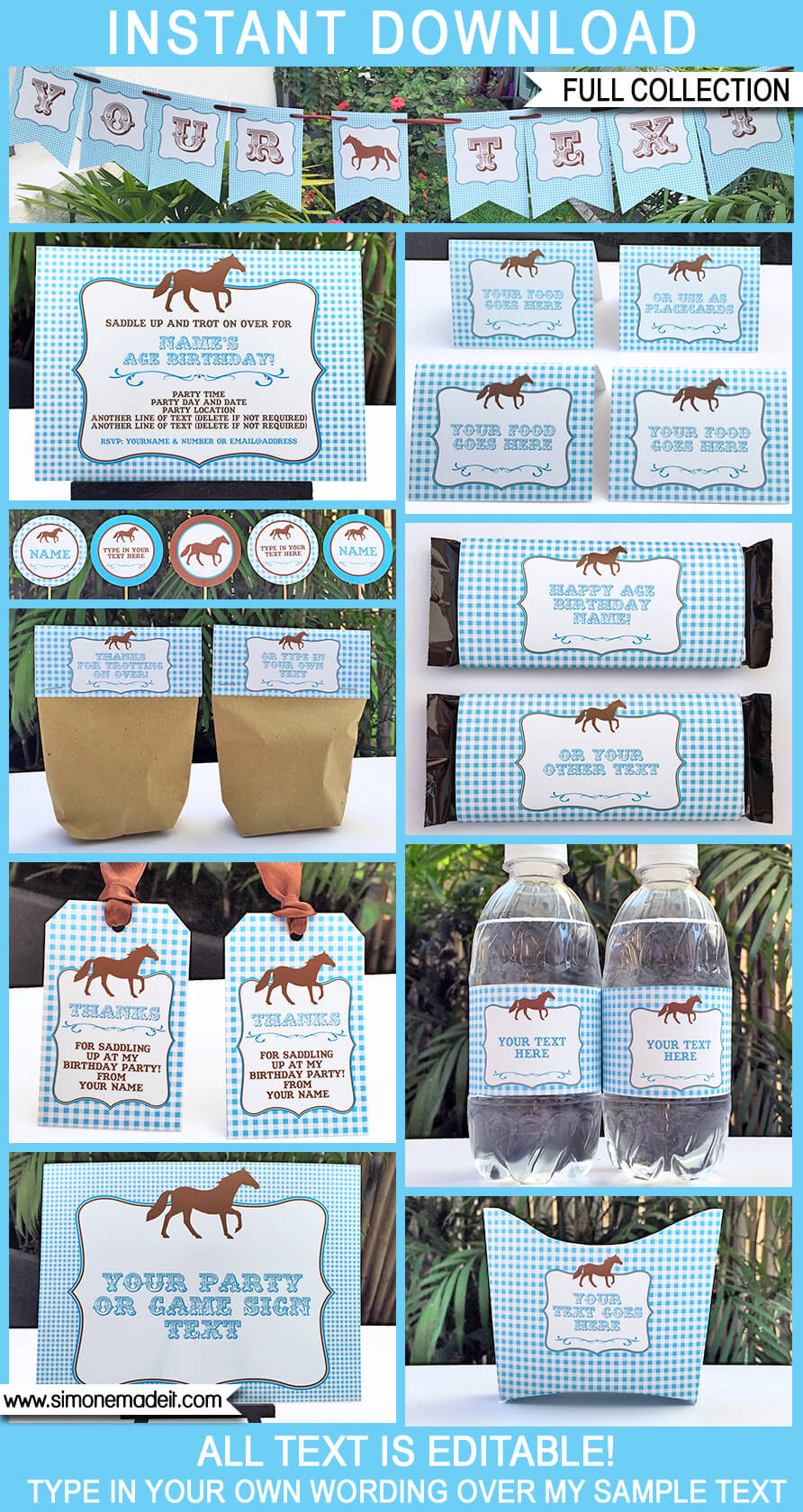 horse party printables invitations decorations blue