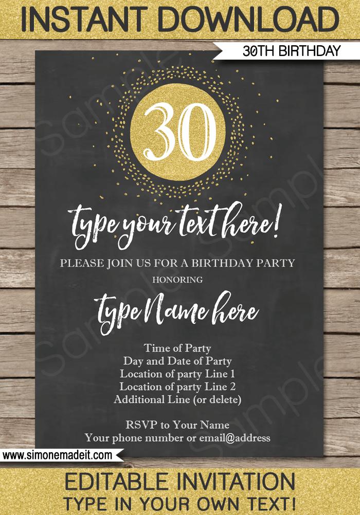 Chalkboard 30th Birthday Invitations Template Gold Glitter