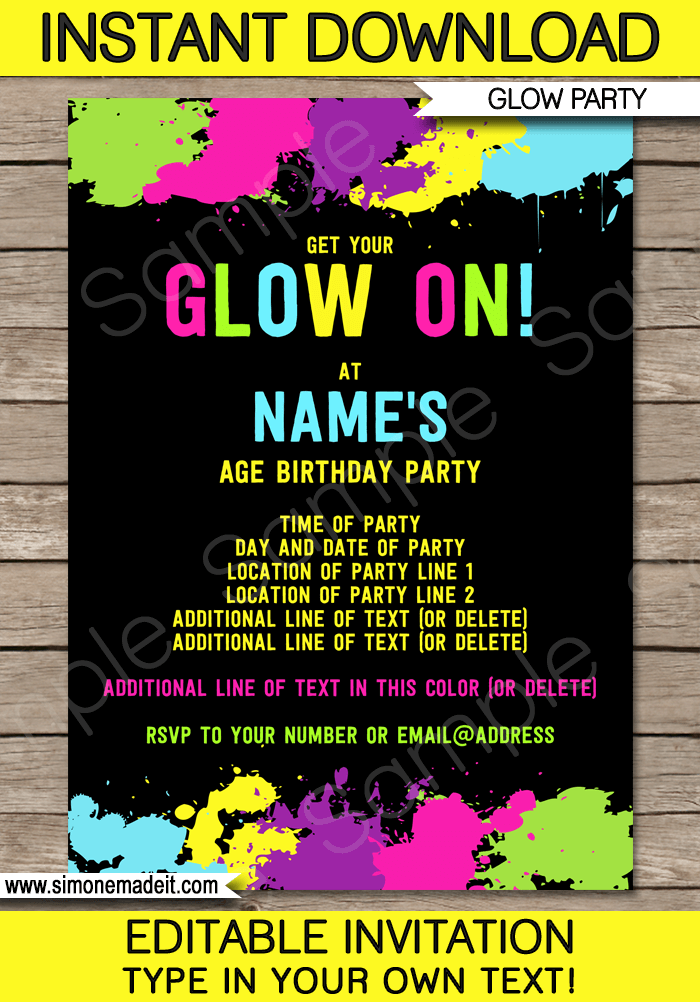 neon glow party invitations template
