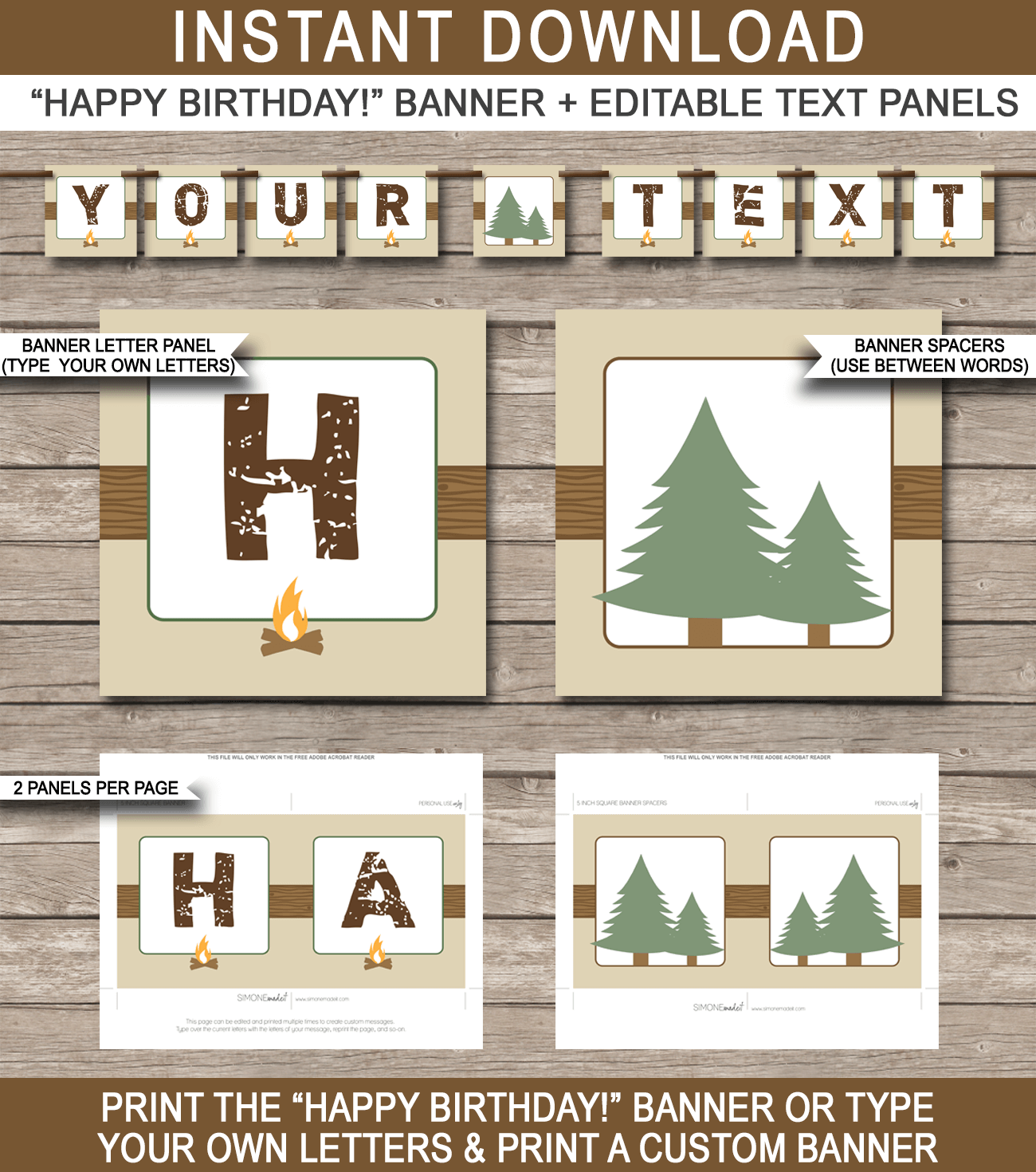 Camping Party Banner Template