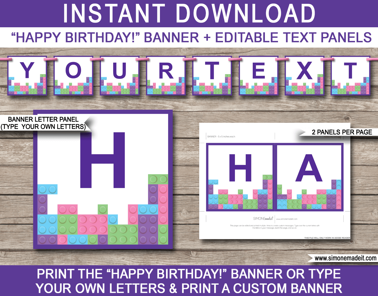 lego friends party banner template
