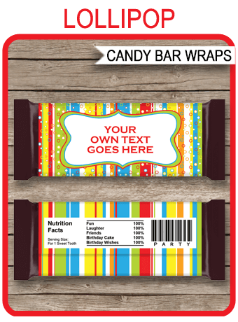 Colorful Hershey Candy Bar Wrappers Personalized Candy Bars