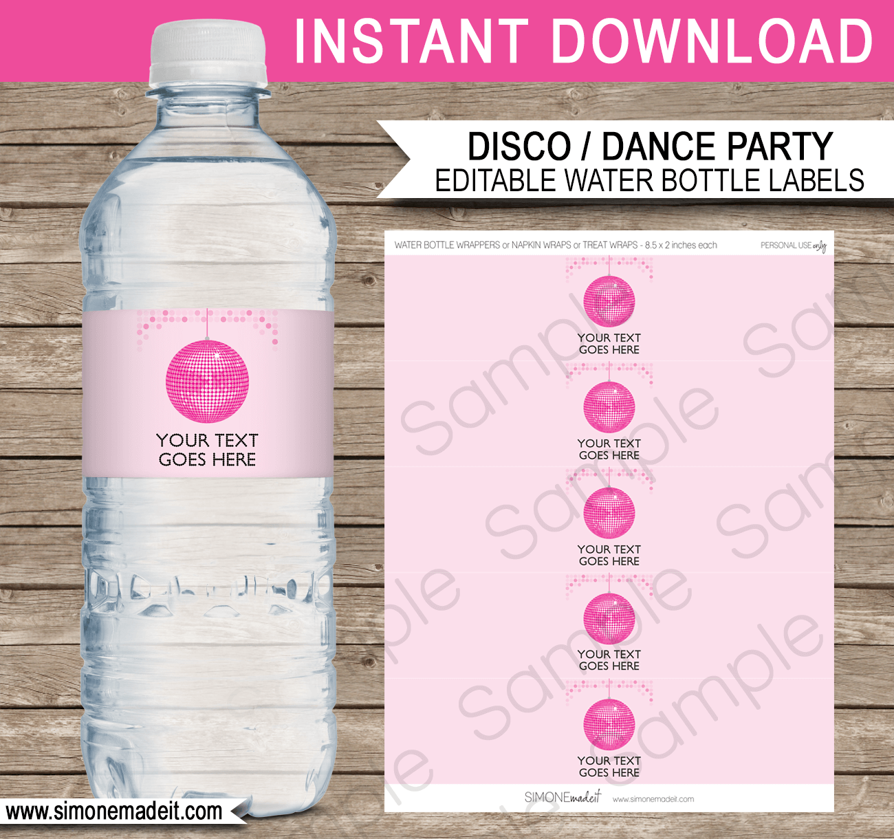 Disco Party Water Bottle Labels